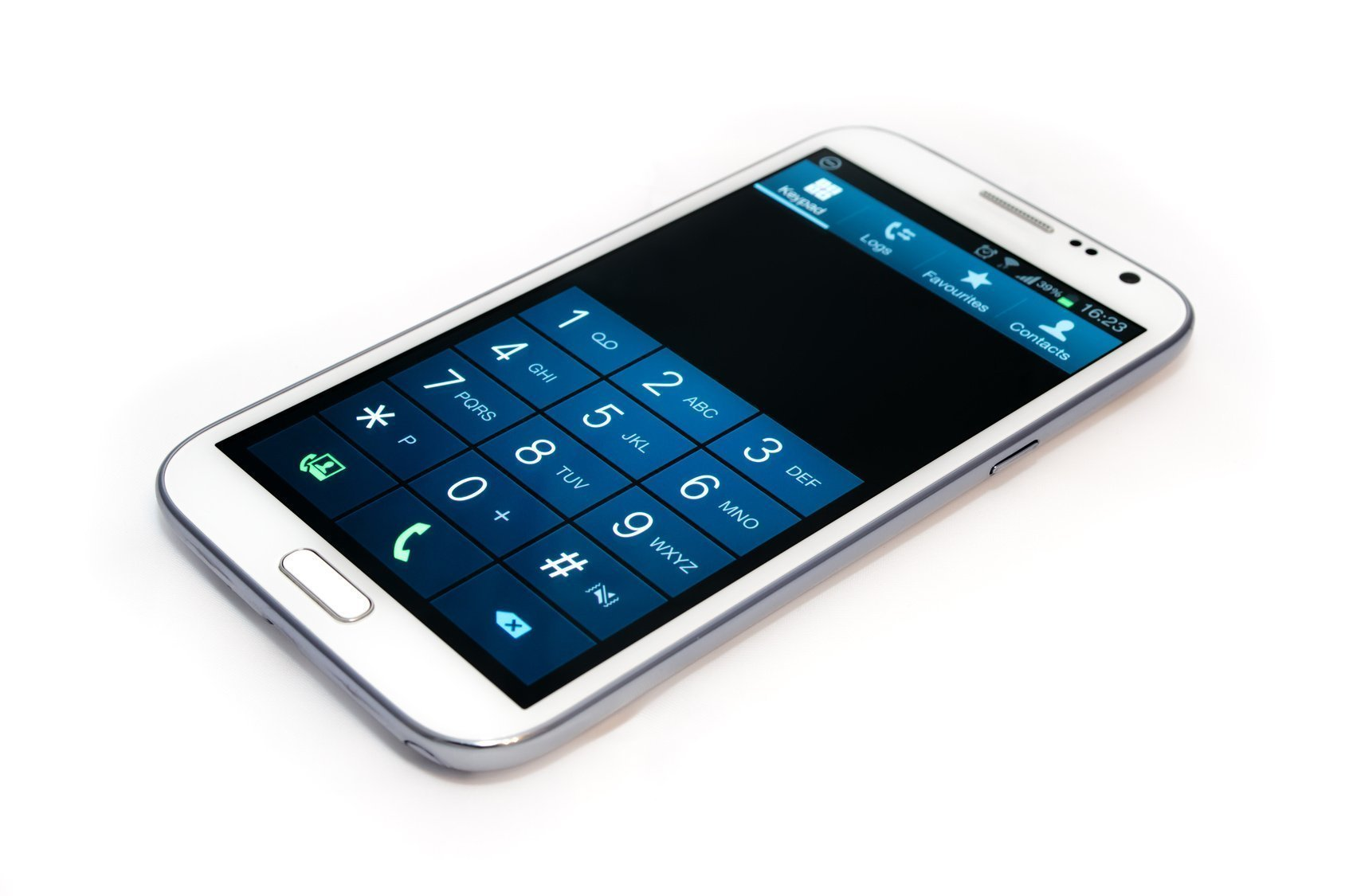 A white touchscreen smart phone with dial screen